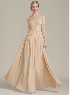A-Line/Princess Sweetheart Floor-Length Chiffon Lace Evening Dress With Ruffle Beading