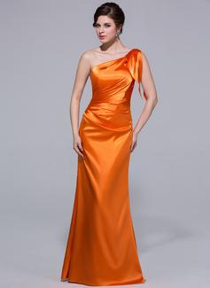 Syrena Jednoramienna Do Podłogi Charmeuse Suknia dla Druhny