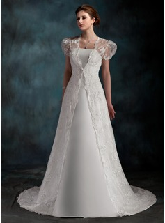 A-Line/Princess Strapless Court Train Satin Wedding Dress