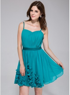 A-Line/Princess Sweetheart Short/Mini Chiffon Charmeuse Homecoming Dress With Ruffle Flower(s)
