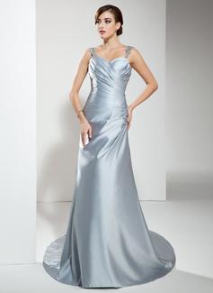 Princesový Srdcový výstřih Dvorní vlečka Satin Svatební šaty S Volán Lace Zdobení korálky