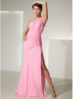 Sheath/Column One-Shoulder Sweep Train Chiffon Prom Dress With Ruffle Beading Flower(s) Split Front