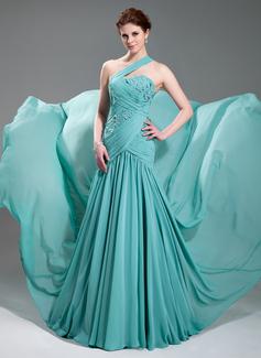 Vestidos princesa/ Formato A Um ombro Cauda corte Chifon Vestido de festa com Pregueado Beading Apliques (017019733)