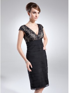Sheath V-neck Knee-Length Chiffon Lace Cocktail Dress With Ruffle