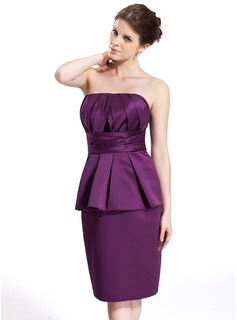Sheath/Column Strapless Knee-Length Satin Bridesmaid Dress With Cascading Ruffles