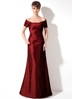 Trompete/Meerjungfrau-Linie Schulterfrei Bodenlang Taft Festliche Kleid mit Rüschen
