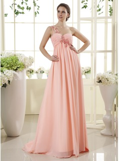 Empire One-Shoulder Sweep Train Chiffon Prom Dress With Ruffle Beading Appliques