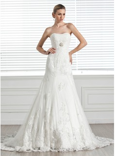 A-Line/Princess Sweetheart Court Train Satin Tulle Wedding Dress With Ruffle Lace Beading