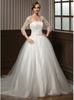 Ball-Gown Sweetheart Chapel Train Satin Tulle Wedding Dress With Lace Beadwork Sequins