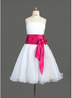 A-Line/Princess Knee-Length Organza Charmeuse Flower Girl Dress With Ruffle Sash Beading