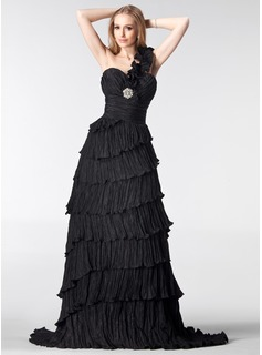 A-Line/Princess One-Shoulder Sweep Train Taffeta Evening Dress With Crystal Brooch Cascading Ruffles Pleated
