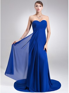 Empire Sweetheart Court Train Chiffon Bridesmaid Dress With Ruffle