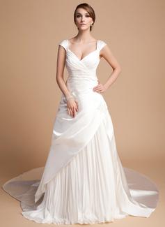 Vestidos princesa/ Formato A Coração Comboios Catedral De chiffon Cetim Tule Vestido de noiva com Plissada