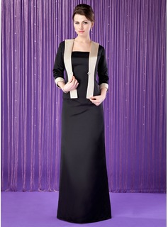 Sheath Strapless Floor-Length Satin Mother of the Bride Dress