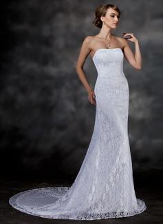 Mořská panna Srdcový výstřih Kostelní vlečka Lace Svatební šaty