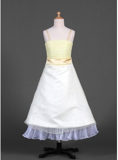 A-Line/Princess Ankle-length Flower Girl Dress - Organza/Satin Sleeveless Square Neckline/Straps With Sash