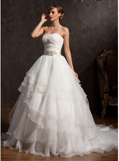 Ball-Gown Sweetheart Chapel Train Organza Wedding Dress With Sash Appliques Lace Sequins Bow(s) Cascading Ruffles