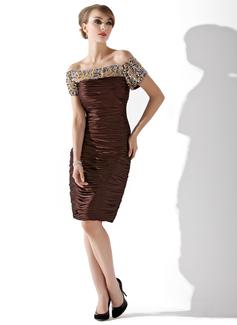 Wąska Off-the-ramię Do Kolan Charmeuse Suknia dla Mamy Panny Młodej Z Żabot Perełki Cekiny