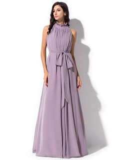 A-Line/Princess High Neck Floor-Length Chiffon Bridesmaid Dress With Bow(s) Cascading Ruffles