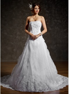 Ball-Gown Strapless Chapel Train Satin Organza Wedding Dress With Ruffle Lace Beading