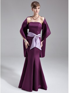 Trumpet/Mermaid Strapless Floor-Length Satin Bridesmaid Dress With Sash Crystal Brooch Bow(s)