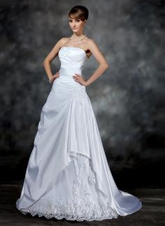 Forme Princesse Sans bretelle Traîne moyenne Satiné Robe de mariée avec Plissé Emperler Motifs appliqués Dentelle