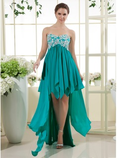 A-Line/Princess Sweetheart Asymmetrical Chiffon Prom Dress With Lace Beading Sequins Cascading Ruffles