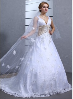 Ball-Gown V-neck Chapel Train Satin Lace Wedding Dress With Sashes Beadwork