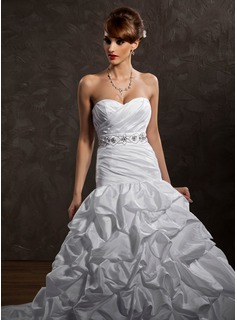 Ball-Gown Sweetheart Cathedral Train Taffeta Wedding Dress With Ruffle Beadwork Sequins