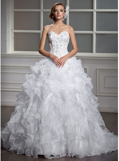 Ball-Gown Sweetheart Court Train Satin Organza Wedding Dress With Beading Sequins Cascading Ruffles