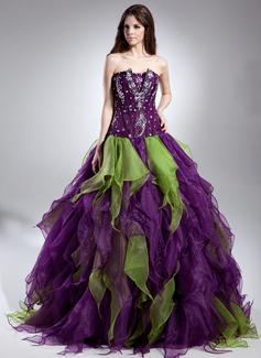 Corte de baile Escote ondulado Hasta el suelo Organdí Vestido de quinceañera con Bordado Cascada de volantes