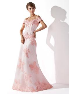 Syrena Off-the-ramię Do Podłogi Satin Tulle Suknia dla Mamy Panny Młodej Z Perełki Naszywki