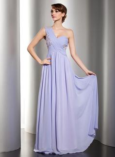 Vestidos princesa/ Formato A Um ombro Longos De chiffon Vestido de Férias com Pregueado Renda Bordado Lantejoulas