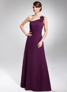 Vestidos princesa/ Formato A Um ombro Vestidos longo Chiffon Vestido de festa com Pregueado (017014740)