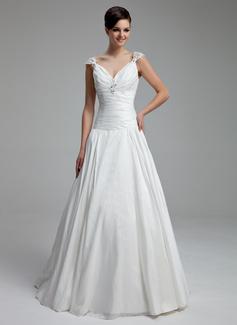 A-Line/Princess V-neck Floor-Length Taffeta Wedding Dress With Ruffle Beading Appliques Lace