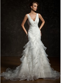Trumpet/Mermaid V-neck Chapel Train Organza Satin Wedding Dress With Cascading Ruffles
