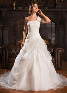 ثوب حفلة بكتف واحد ذيل كورت Organza فستان الزفاف مع كشكش زهرة