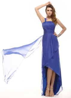 A-Line/Princess One-Shoulder Asymmetrical Chiffon Holiday Dress With Ruffle