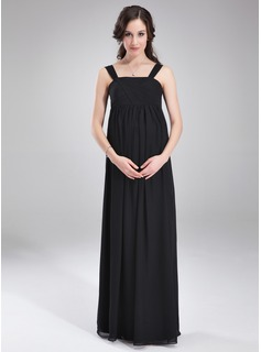 Empire Square Neckline Floor-Length Chiffon Chiffon Maternity Bridesmaid Dress With Ruffle