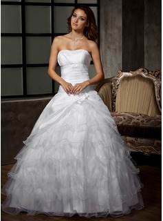 Ball-Gown Sweetheart Floor-Length Taffeta Tulle Wedding Dress With Flower(s) Cascading Ruffles