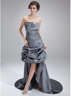 A-Line/Princess Strapless Asymmetrical Taffeta Sequined Prom Dress With Ruffle Beading Appliques Lace