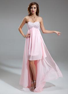 Empire Sweetheart Asymmetrical Chiffon Homecoming Dress With Ruffle Beading Sequins