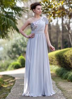 Vestidos princesa/ Formato A Um ombro Vestidos longo Tecido de seda Lantejoulas Vestidos de festa com Pregueado Bordado (017022933)