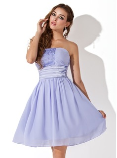 Empire Strapless Knee-Length Chiffon Charmeuse Homecoming Dress With Ruffle Beading