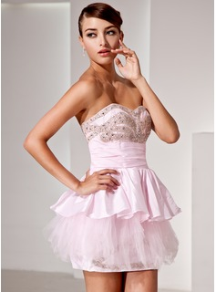 A-Line/Princess Sweetheart Short/Mini Taffeta Tulle Cocktail Dress With Beading Cascading Ruffles