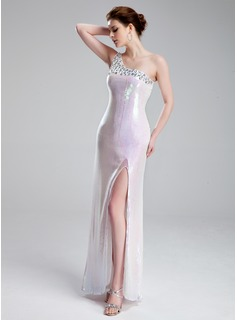 Sheath One-Shoulder Floor-Length Charmeuse Sequined Prom Dress With Beading
