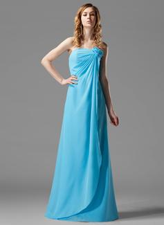 Sheath/Column Strapless Floor-Length Chiffon Bridesmaid Dress With Ruffle Flower(s)