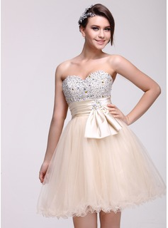 Empire Sweetheart Knee-Length Tulle Charmeuse Homecoming Dress With Ruffle Beading Sequins