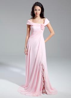 Princesový Off-the-rameno Kostelní vlečka Chiffon Večerní šaty S Volán Květiny