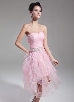 A-Linie/Princess-Linie Herzausschnitt Wadenlang Organza Cocktailkleid mit Perlen verziert Pailletten Gestufte Rüschen